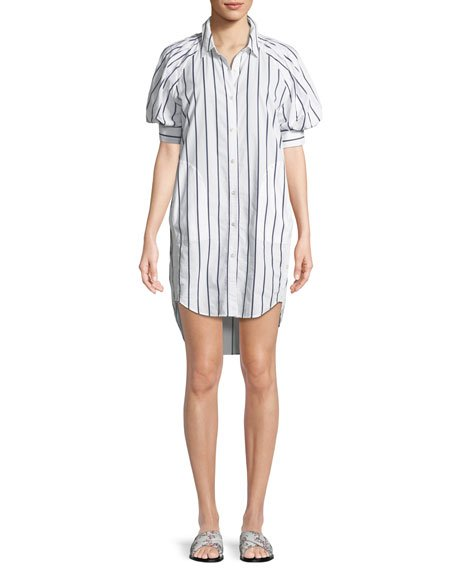 Joie Sephira Striped Puff-Sleeve Shirtdress