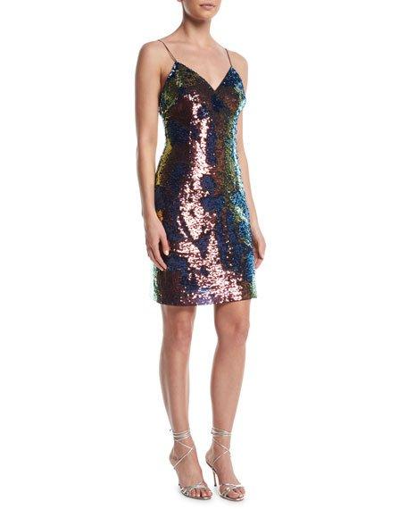 Aidan by Aidan Mattox Slip Sequin Mini Dress w/ Spaghetti Straps