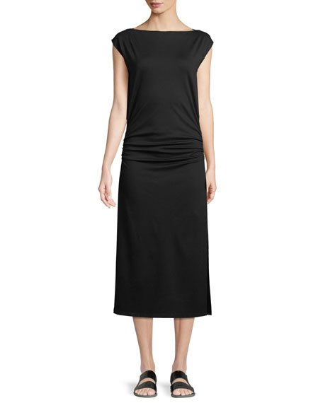 Theory Minimal Ruched Cap-Sleeve Sheath Dress