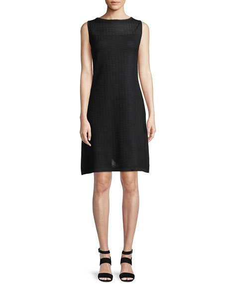 Misook Sheer-Yoke Sleeveless Shift Dress