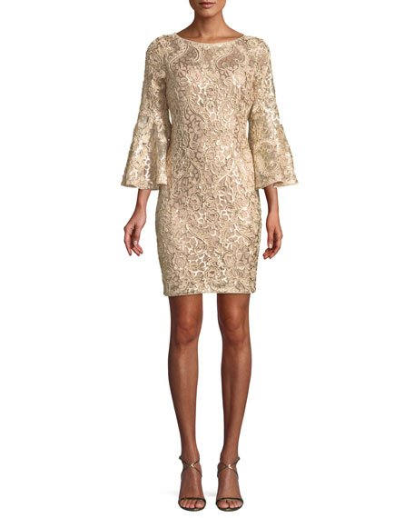 Aidan Mattox Woven Bell-Sleeve Mini Cocktail Dress