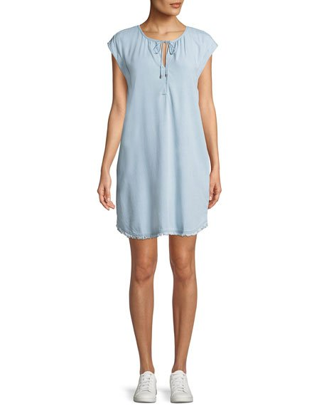 Splendid Dropped-Shoulder Frayed Shirtdress