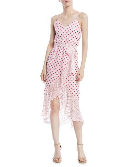 Alice + Olivia Mable Faux-Wrap Polka-Dot Midi Dress