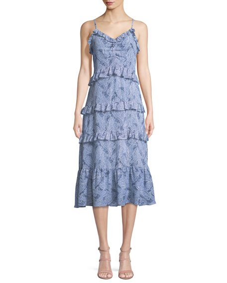 MICHAEL Michael Kors Paisley-Print Ruffled Midi Dress