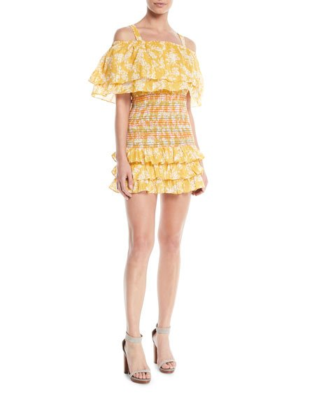Tularosa Roma Smocked Floral Ruffle Dress