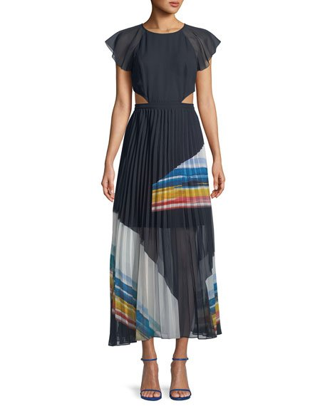 Joie Keitha Pleated Flutter-Sleeve Maxi Dress