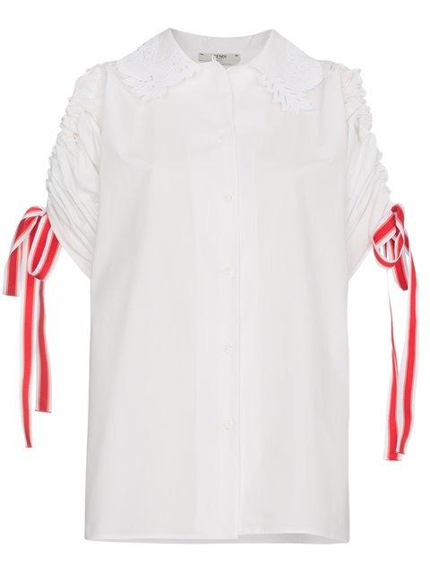 Fendi Embroidered Drawstring Cold-shoulder Shirt - Farfetch