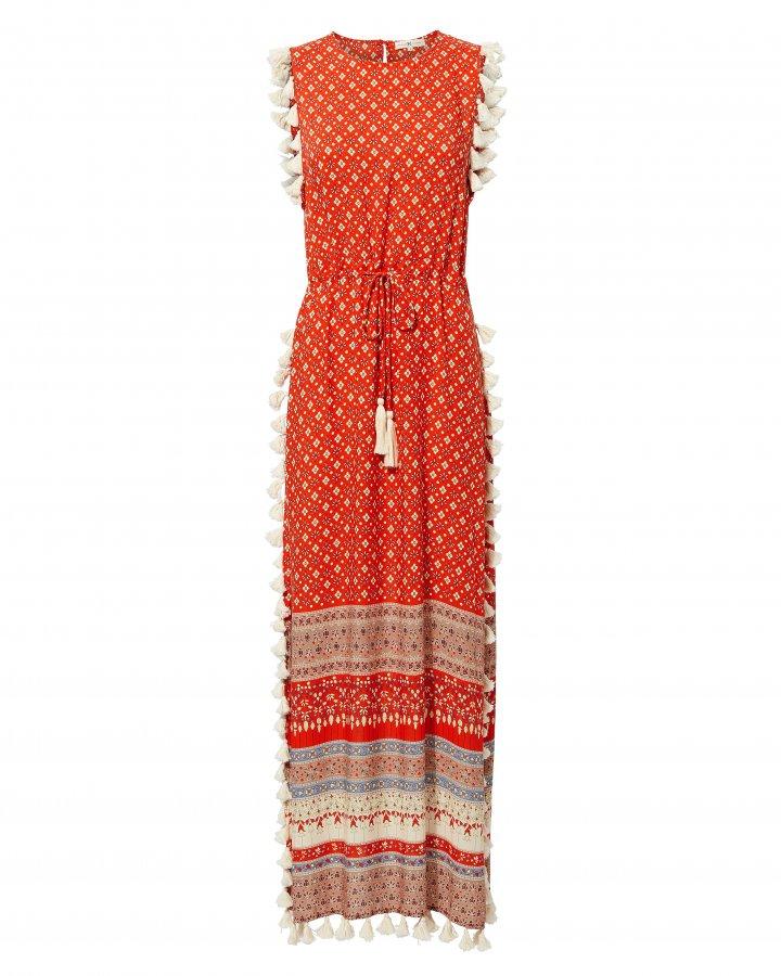 Pom Pom Fringe Maxi Dress