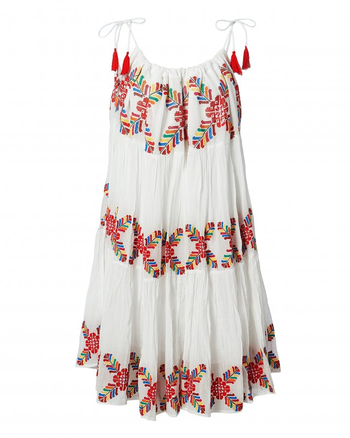 Multi Embroidered White Dress