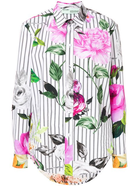 Off-White Striped Floral Shirt - Farfetch