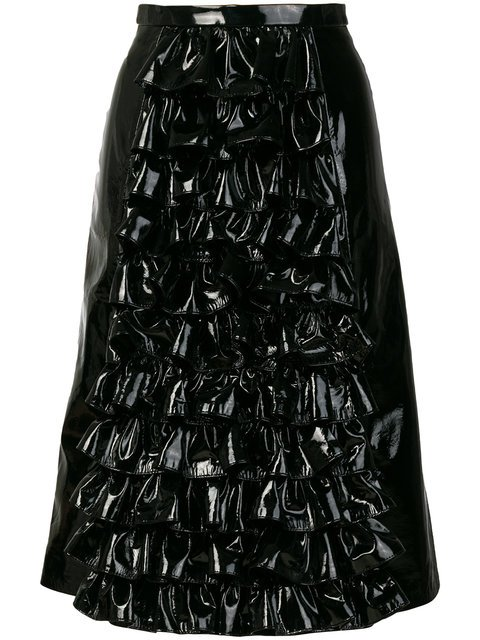 Christopher Kane Front Ruffle Patent Leather Skirt - Farfetch