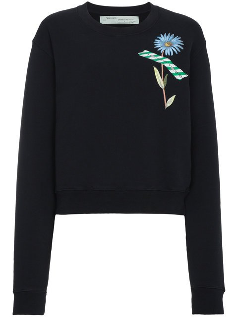 Off-White Floral Tape Print Sweatshirt  - Farfetch