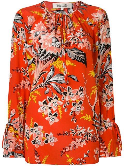 Dvf Diane Von Furstenberg Tie Neck Floral Printed Blouse - Farfetch