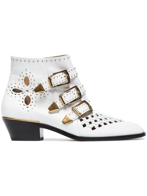 Chloé White Susanna 30 Studded Leather Boots - Farfetch