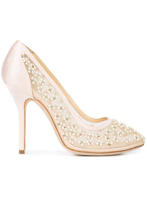 Marchesa Dara Pearl Embellished Mesh Pumps - Farfetch