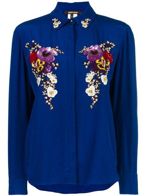 Roberto Cavalli Pearl Embellished Shirt - Farfetch