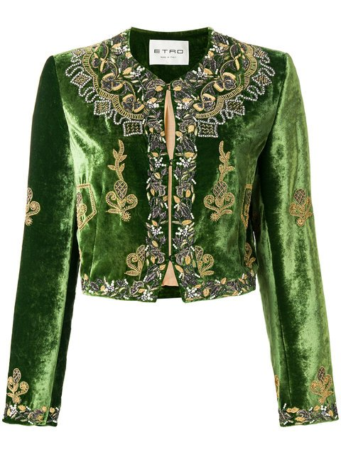 Etro Embellished Velvet Cropped Jacket - Farfetch