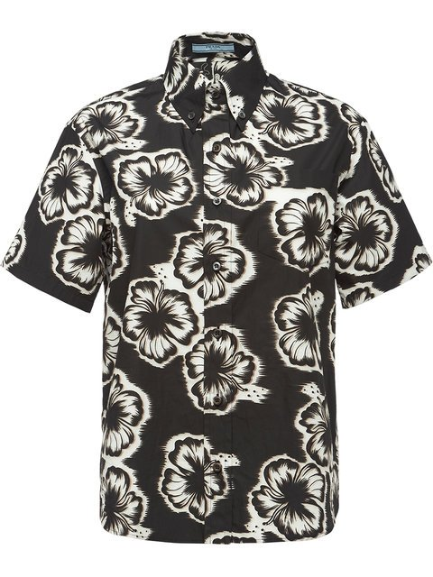 Prada Hibiscus Print Button Down Shirt - Farfetch