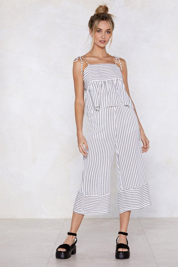 See You At the Finish Line Striped Cami Top and Pants Set