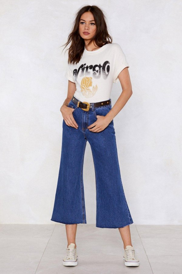 Cropped in Your Tracks Wide-Leg Jeans