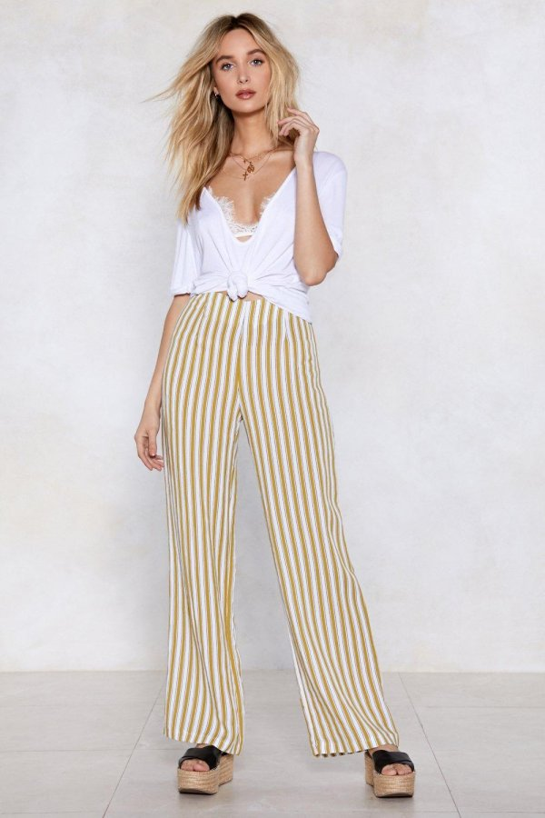 In Line Wide-Leg Pants
