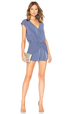 Overlapping Pleated Romper In Blue Smoke                                             BCBGeneration