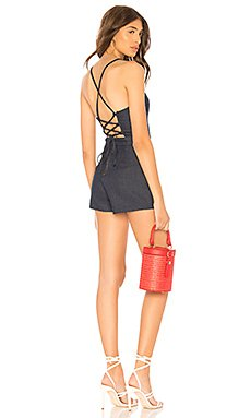 Arian Lace Up Back Denim Romper                                             by the way.