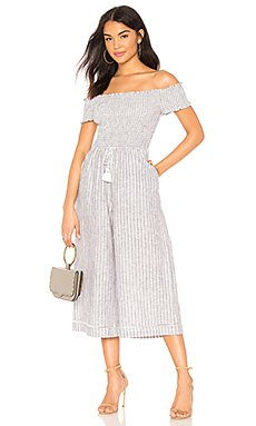 Off Shoulder Smocked Bodice Jumpsuit                                             1. STATE