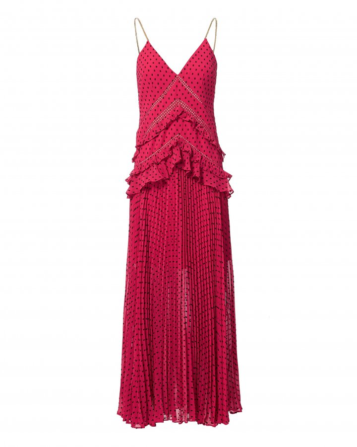Fuchsia Plumetis Paneled Midi Dress
