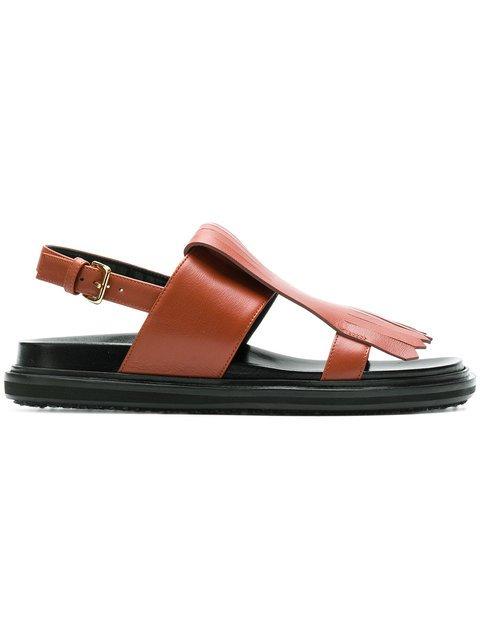 Marni Fussbett Fringed Sandals - Farfetch