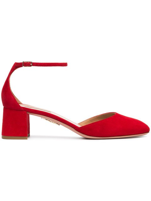 Aquazzura Red Capucine 50 Suede Leather Sandals - Farfetch