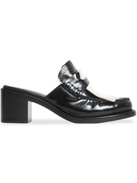 Burberry Contrast Kiltie Fringe Leather Block-heel Mules - Farfetch