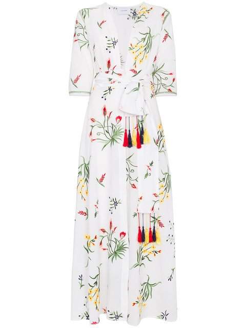 We Are Leone Provence Floral Embroidered Maxi Robe - Farfetch
