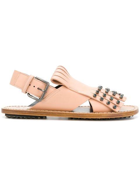 Marni Studded Fringed Sandals - Farfetch