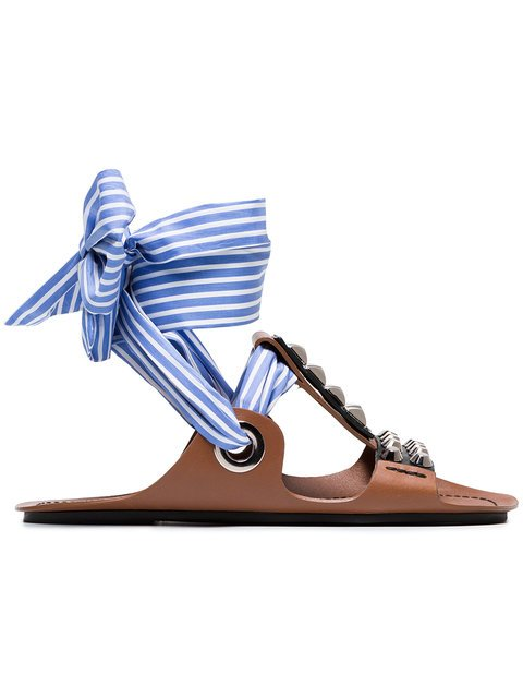 Prada Brown Gladiator Sandals With Studs And Black Ribbon And a Blue And White Striped Ribbon - Farfetch