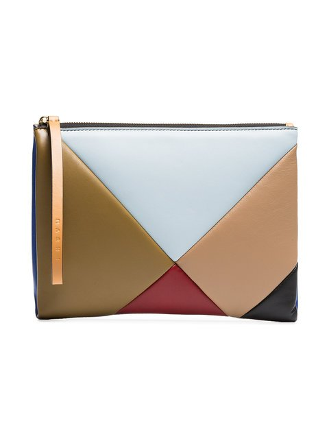 Marni Multicoloured Geometric Leather Pouch - Farfetch