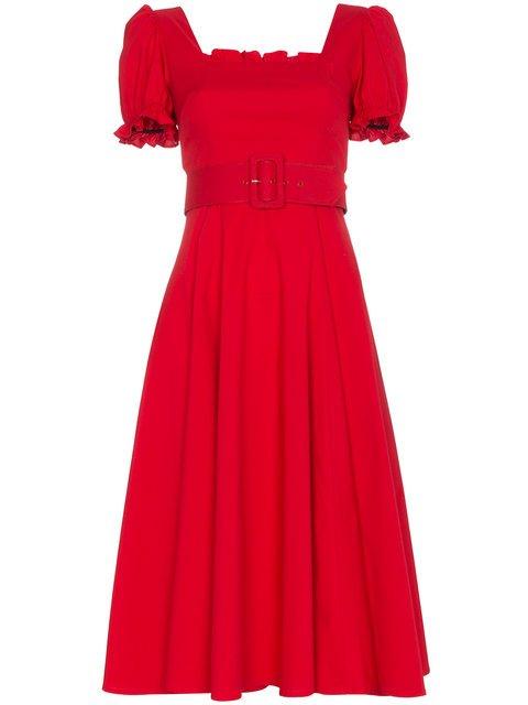 Staud Maryann Ruffle Sleeve Cotton Blend Dress - Farfetch