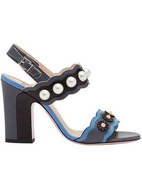 Fendi Faux-pearl Embellished Sandals - Farfetch