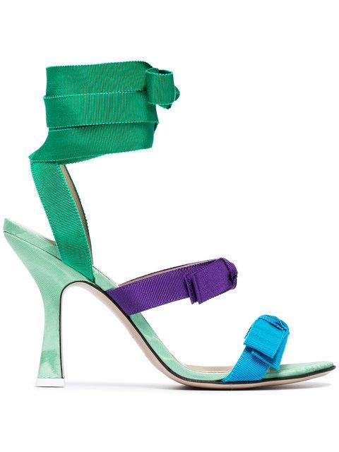 Attico Multi Coloured Diletta 100 Ribbon Leather Sandals - Farfetch