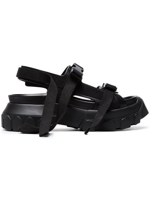 Rick Owens Black Hiking 80 Leather Sandals - Farfetch