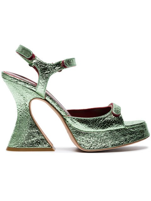 Sies Marjan Green Ellie 110 Leather Sandals - Farfetch