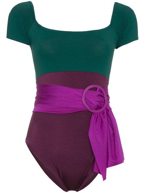 Leslie Amon Sacha Belted Short Sleeve Swimsuit - Farfetch