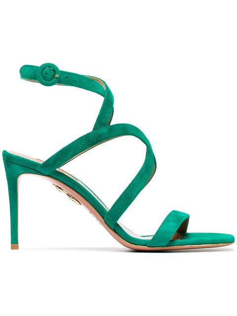 Aquazzura Green Morena 85 Suede Sandals - Farfetch
