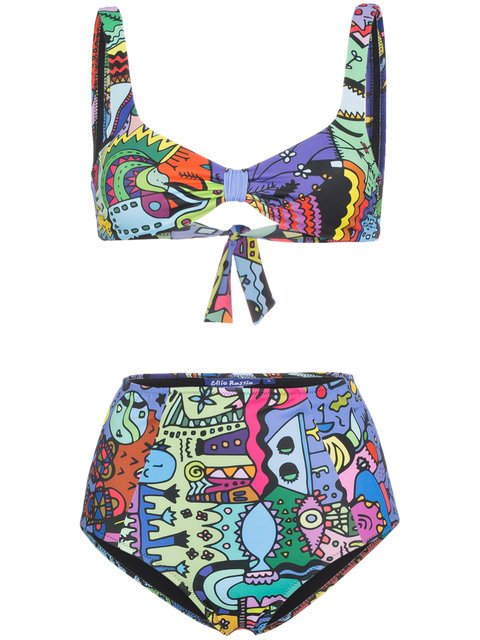 Ellie Rassia Old Fashioned Print High Waist Bikini - Farfetch