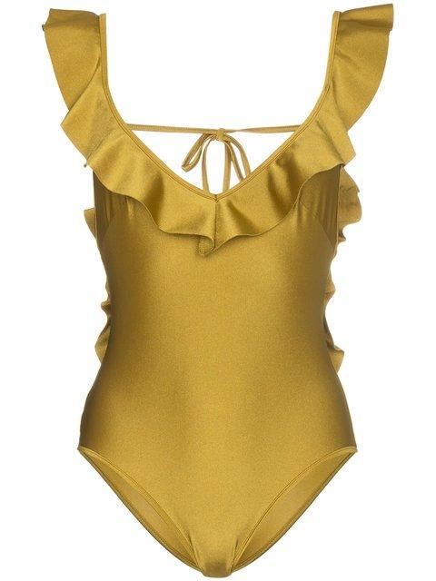 Zimmermann Jaya V-neck Flounce Swimsuit - Farfetch