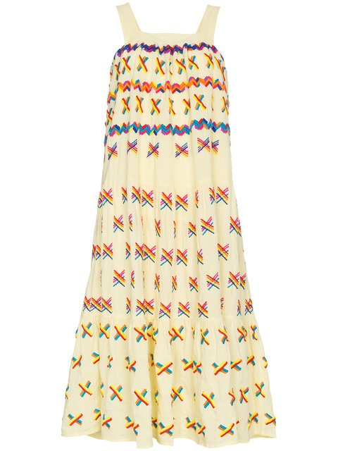 All Things Mochi Remi Embroidered Midi Dress - Farfetch