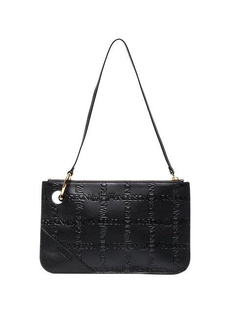 JW Anderson Black Pierce Logo Embossed Leather Clutch - Farfetch