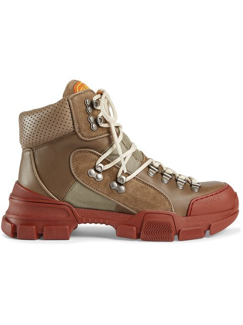 Gucci Leather And Canvas Trekking Boots - Farfetch