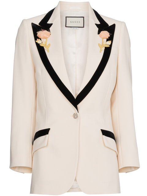 Gucci Flower Embroidered Wool Jacket - Farfetch