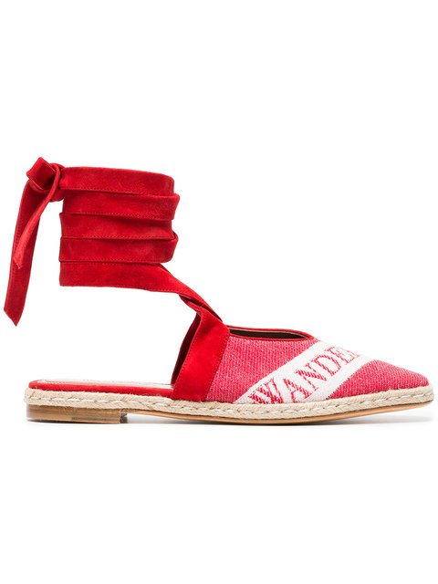 JW Anderson Ruby Red 25 Logo Ballerina Leather Espadrilles - Farfetch
